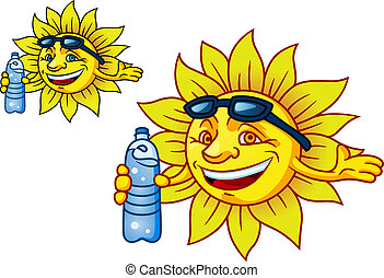 Laughing tropical sun with bottled water