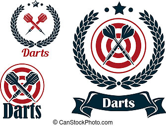 Three different darts emblems or badges with a set of...