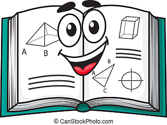 Happy smiling cartoon school textbook open to pages showing...