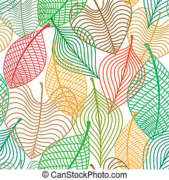 Seamless pattern of colorful leaves - Seamless pattern of...