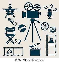 Movie icons - Set of retro vector movie and music icons