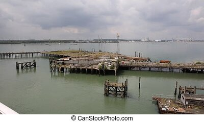 View of Southampton Docks England - View of Southampton...