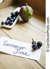 Summer time note with fruits