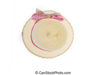 Pretty straw hat with pink ribbon on white background