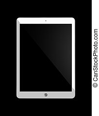 Computer tablet with blank white screen.
