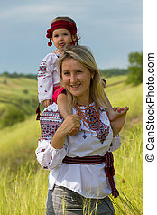 Ukrainian family at the  outdoor