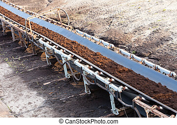 Opencast brown coal mine Belt conveyor - Open pit Opencast...