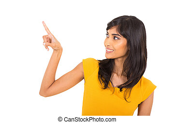 indian woman pointing with her finger - pretty indian woman...