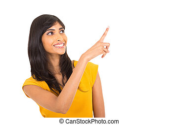 cheerful indian woman pointing up