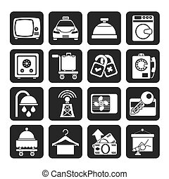 Hotel and motel room icons