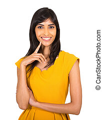 young indian woman on white background - gorgeous young...