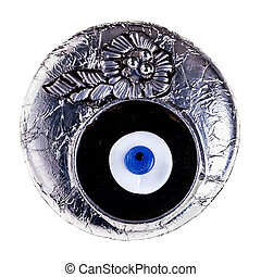 Turkish eye - a turkish eye talisman isolated over a white...
