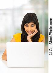 看, 屏幕, 婦女, 電腦, 印第安語