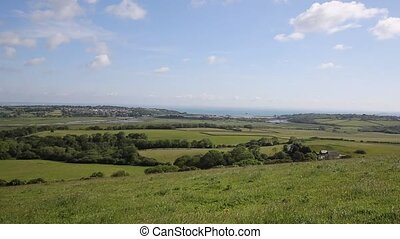 Isle of Wight view to Bembridge and Whitecliff Bay east of...