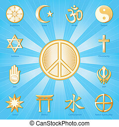 Peace Symbol, World Religions - Gold icons of 12 world...