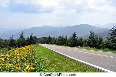 Blue Ridge Parkway and mountains - A stretch of road along...