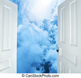 White doors opening to dreams - Doors opening to dreamy...
