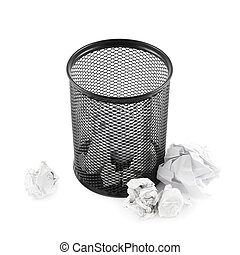 Office paper trash bin isolated - Office paper black trash...