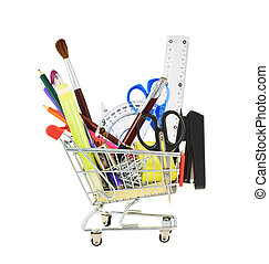 Office tools in a shopping cart