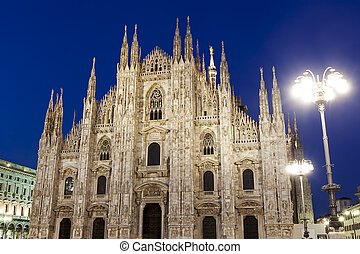 Milan Cathedral, Italy Historic gothic facade, night view