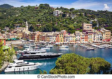 Portofino Italy - Portofino harbor, on the Italian Riviera...