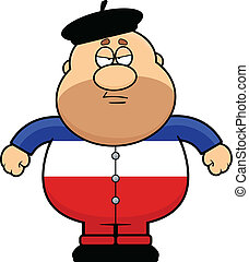 Cartoon Frenchman Frowning - Cartoon illustration of a...