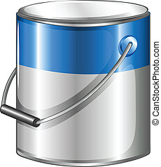 A can of blue paint - Illustration of a can of blue paint on...