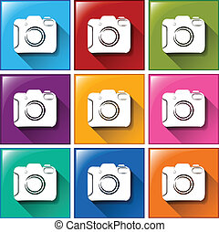 Camera icons - Illustration of the camera icons on a white...