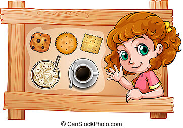 A frame with a young girl with drinks and biscuits -...