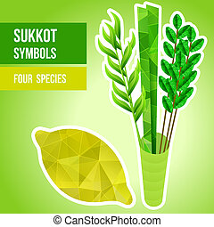 Sukkot symbols - Four species - palm, willow, myrtle , etrog...