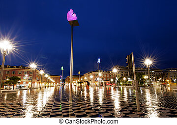 Plase Massena Nice France - A rainy night in Nice, France...