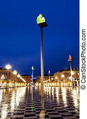 Place Massena Nice France - A rainy night in Nice, France....
