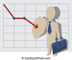 Crisis management. Business man