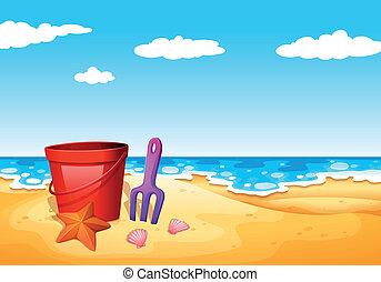 A seashore at the beach - Illustration of a seashore at the...