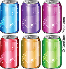 Set of soda cans - Illustration of a set of soda cans on a...