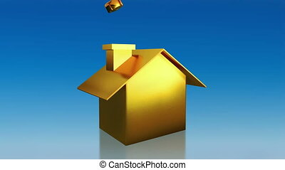 investment gold house saving sky - the house graphic 3d...