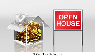 investment saving at house open - the house graphic 3d...