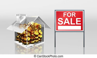 investment saving at house sale - the house graphic 3d...
