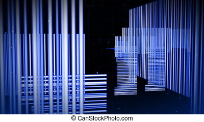 White vertical lines in black background - 3D White vertical...