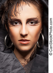 Woman with gothic make up - Woman with black darck gothic...