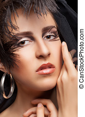 Woman with gothic style make up Professional fashion art...