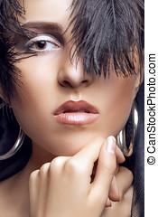 Beautiful woman with gothic fashion make up - Beautiful...