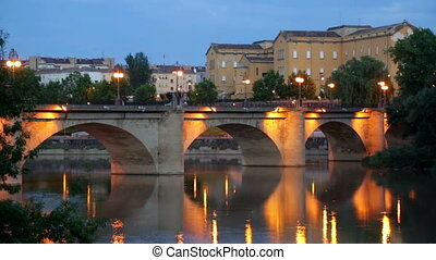 bridge over Ebro river in evening. - Old bridge (Puente da...
