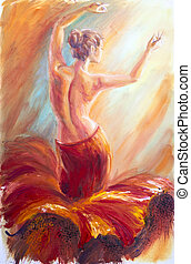 Beautiful dancing woman in red Oil painting