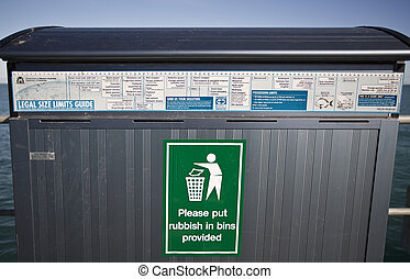 Rubbish Bin - Rubbish bin with an attached fish legal size...