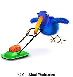 3d Bluebird mows the lawn - 3d render of a bluebird mowing...