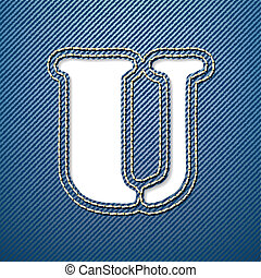 Denim jeans letter U - vector illustration