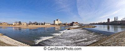 Waterfall on Odra river in Brzeg, Poland - Big waterfall on...