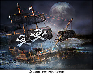 PIRATE GHOST SHIP - A Pirate Ghost Ship stranded on the...