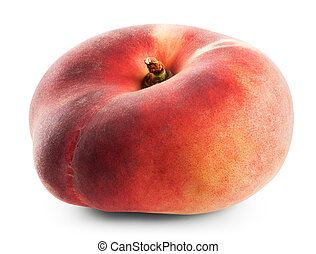 fig peach on a white background. Clipping Path